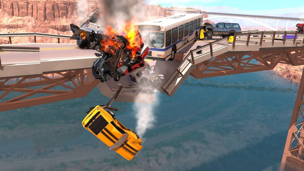 Collapsing Bridge Pileup Crashes #4 - BeamNG Drive Crash Testing