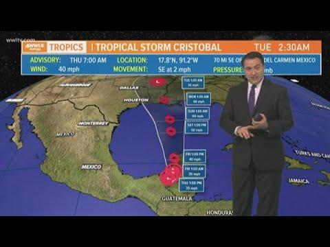 Tropical Storm Cristobal Thursday forecast track