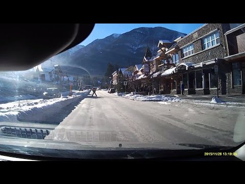 Driving through Downtown Banff a Rocky Mountain Resort, Alberta 2015