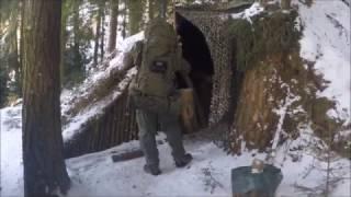 Winterübernachtung im Bushcraft Wald Camp