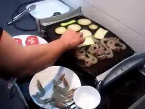 Verduras y langostinos a la plancha 1 recetas de comida - Plancha de cocina ...