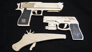 3 Резинкострела своими руками из дерева. Пистолеты для детей