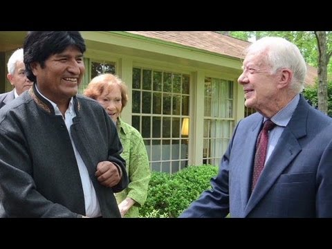Bolivian President Evo Morales meets Jimmy Carter