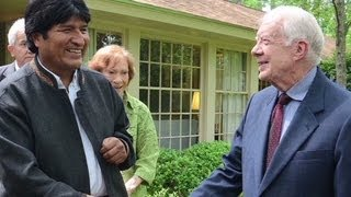 Bolivian President Evo Morales meets Jimmy Carter