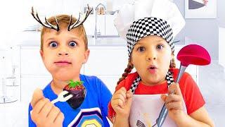 ديانا تتظاهر بالطبخ واللعب بألعاب المطبخ