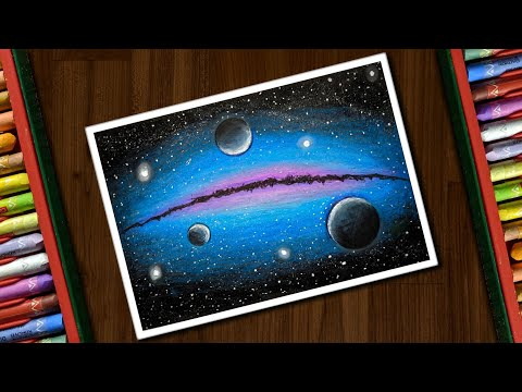 how to draw galaxy with oil pastels