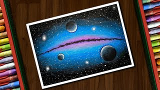 Galaxy Drawing for beginners with Oil Pastels - step by step