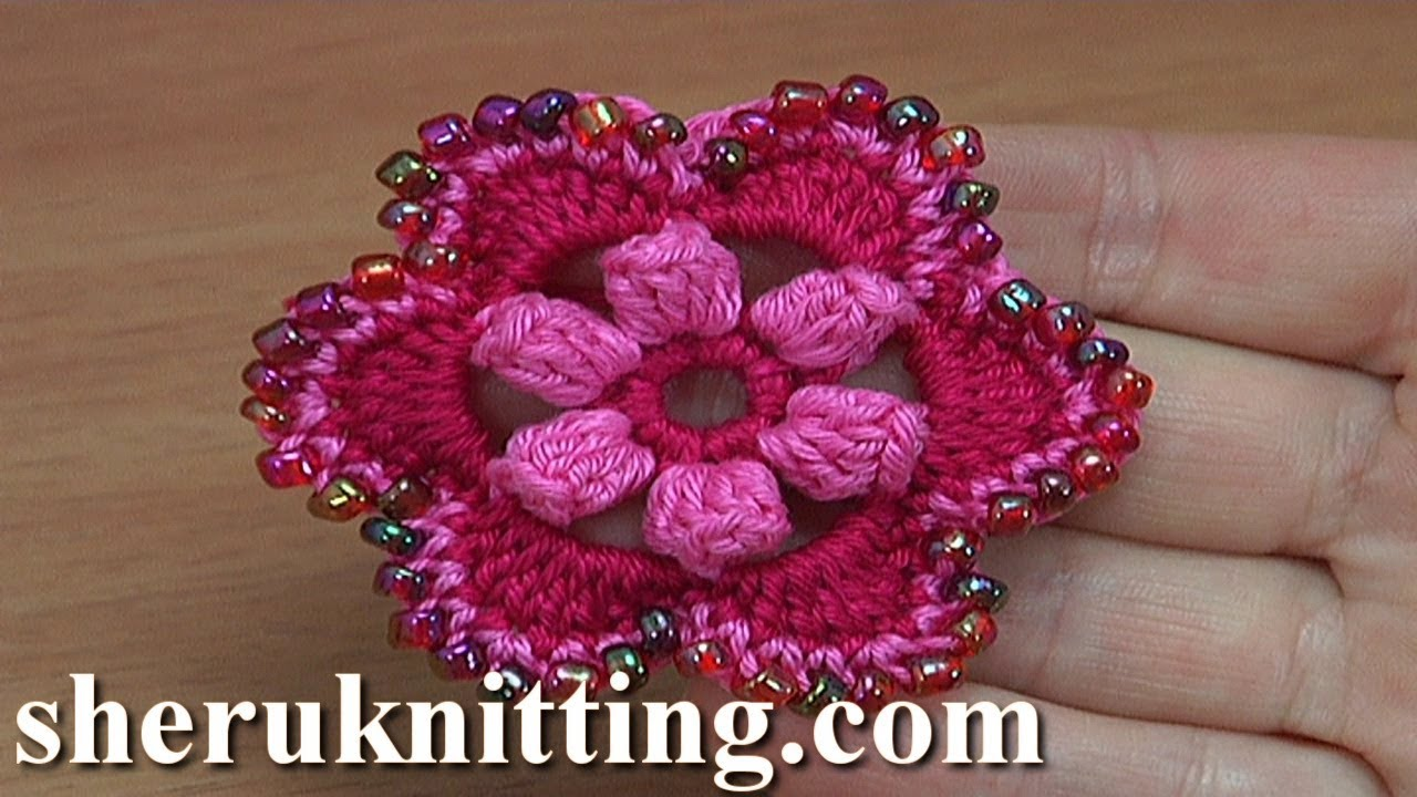 Crocheted 6-Petal Flower With Popcorn Stitches Tutorial 188 Crochet ...
