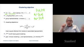 Stanford ENGR108: Introduction to Matrix Methods | 2020 | Lecture 13 - VMLS k means