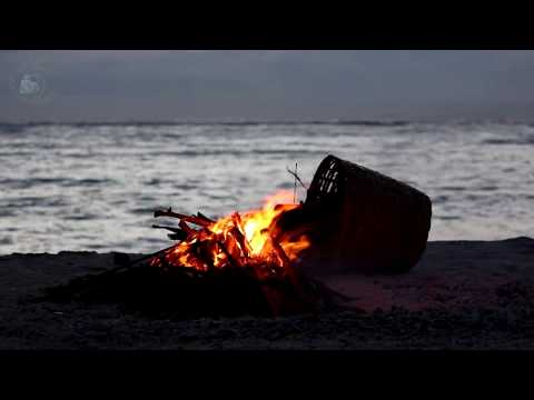 🎧 Campfire On The beach Ambience  8 Hours Relaxing Ocean Wave Sounds & Calming Crackling Fire Sound