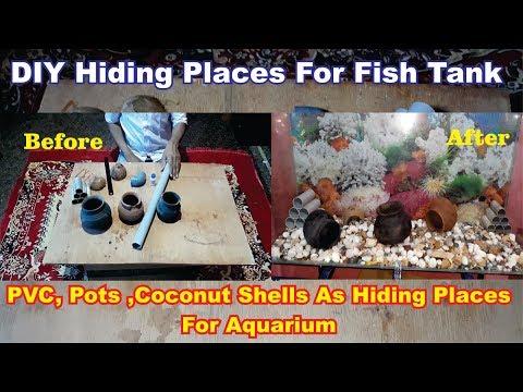 How To Make Aquarium Decorations #Using pvc Pipes , coconut shells ,pots #Hidingplaces