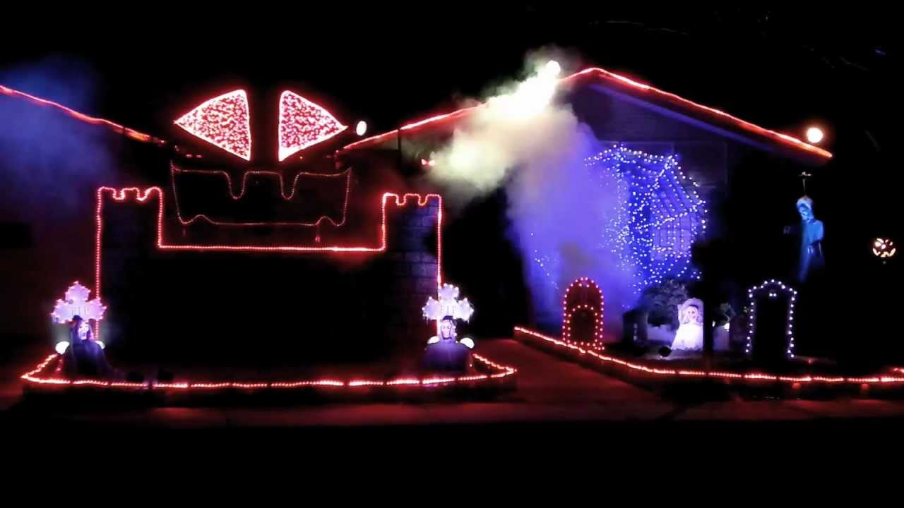 "2011 halloween light show: ""go to hell"" - youtube"