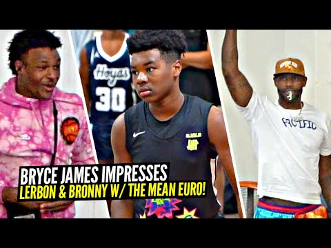 Download Bryce James Gets LEBRON & BRONNY OUT THEIR SEAT w/ The MEAN EURO Past The Defender!! SFG 15U Squad!