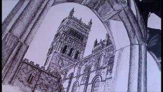 Durham Cathedral Speed Drawing Using The Cross Hatching Technique (time Lapse Video)