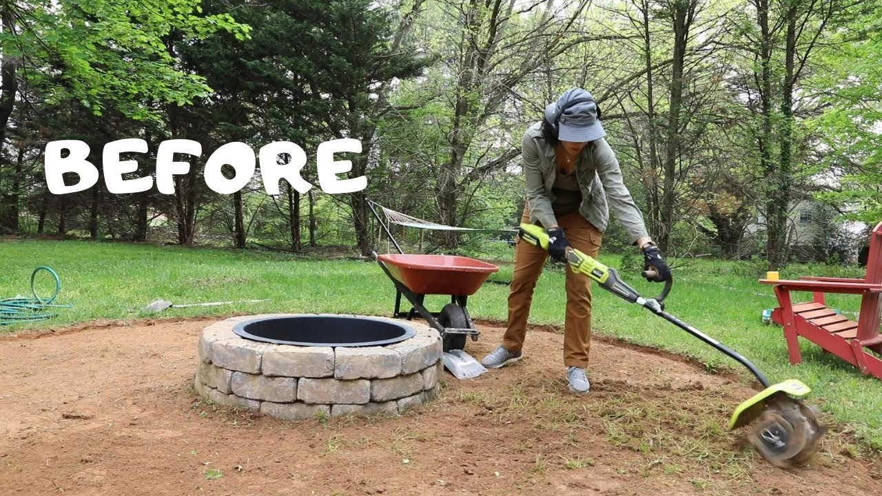 How To Make A Fire Pit Seating Area Backyard Makeover Thrift Diving Youtube