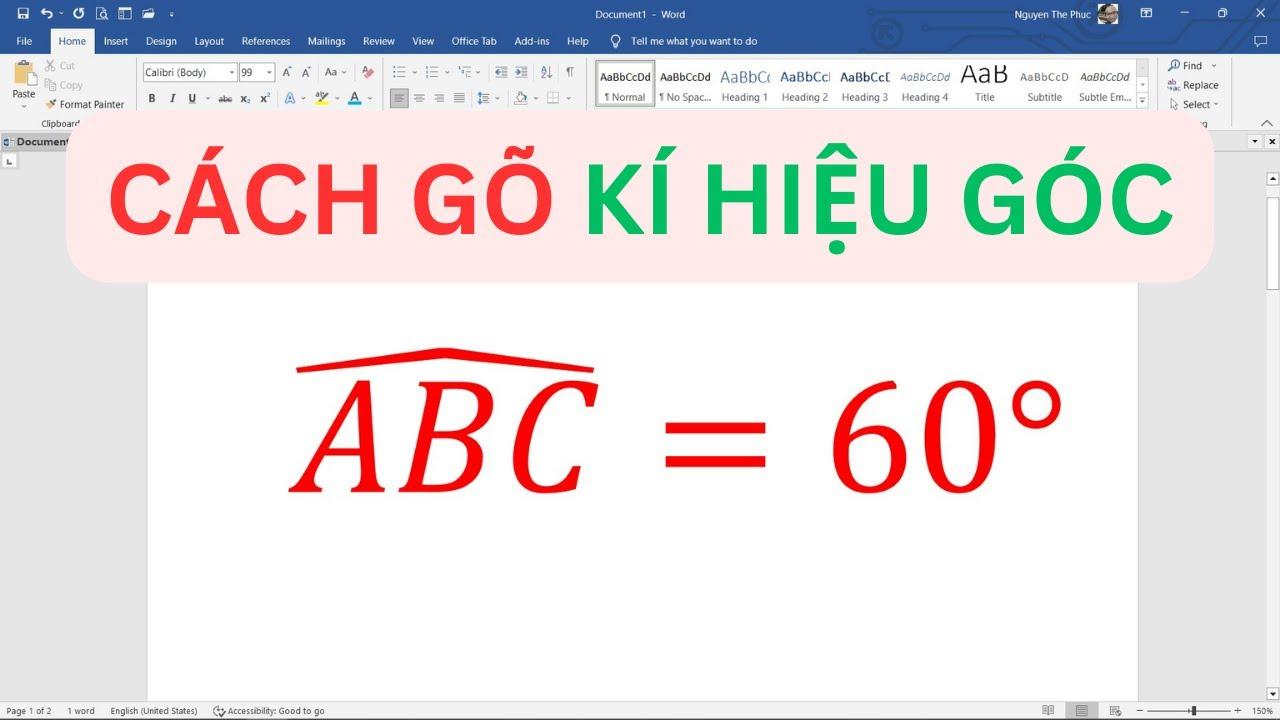 Tạo kí hiệu góc trong MS Word 2010