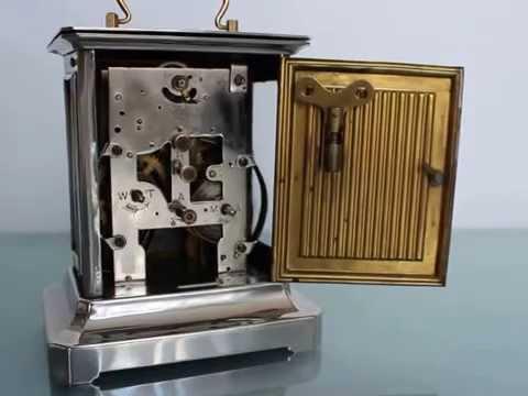 JUNGHANS Antique MUSICAL Alarm TOP Condition Clock Germany Mantel Shelf Chrome