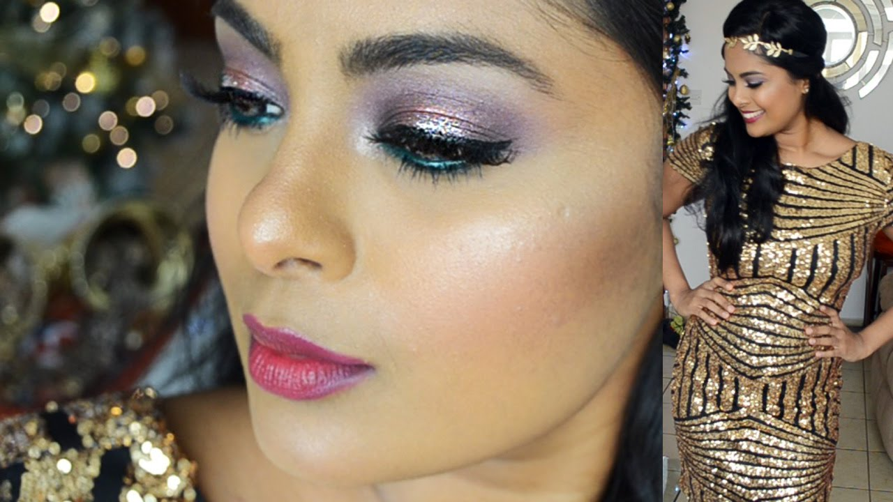 New Years Eve Makeup - Glitter Eyeshadow Party Makeup - Full Face - Foundation Drugstore ...