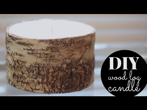 DIY Wood Log Winter Candle   Cinnamon & Sandalwood!