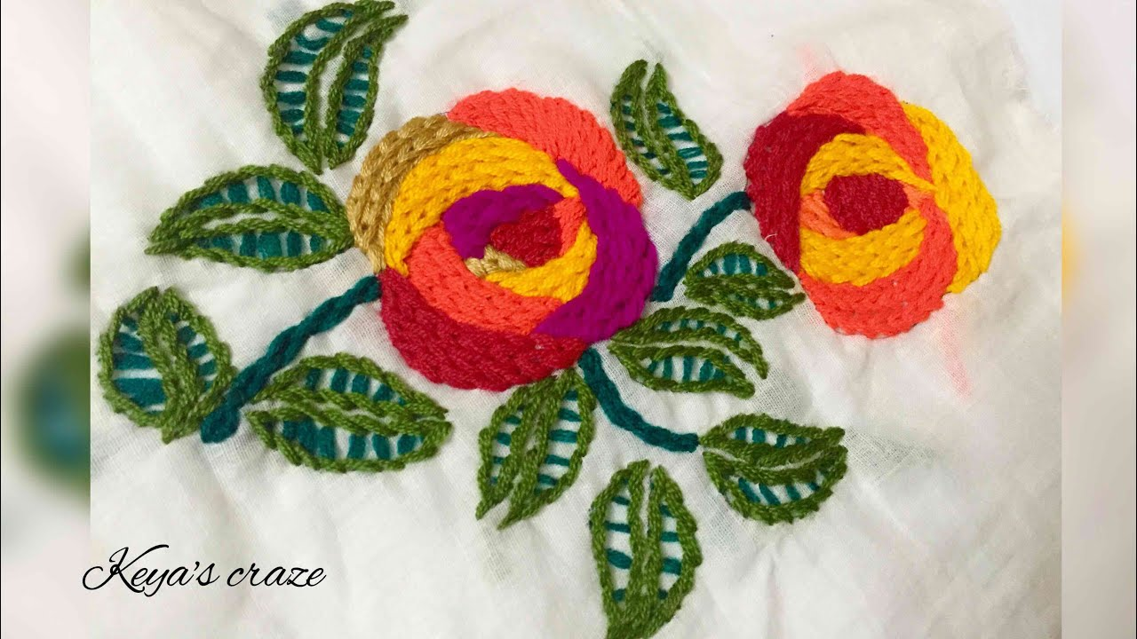 Flower Hand Embroidery Design For Dress Border Wallmate Raised