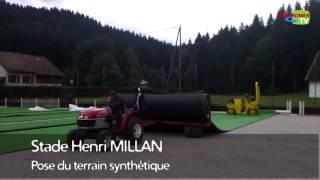 Pose du terrain synthétique au Stade Henri Millan - Ville de Gérardmer