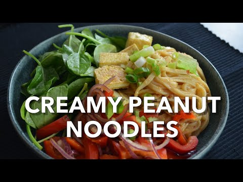 Creamy Peanut Noodles with Crispy Fried Tofu and Stir-Fry Vegetables
