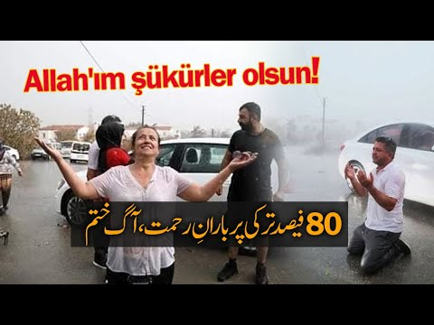 People become happy and raised hand after heavy rain in Turkey