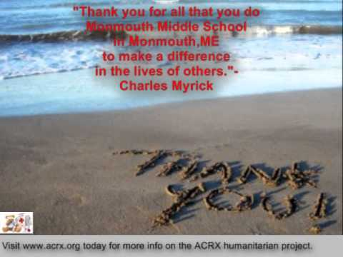 Monmouth Middle School Receive Tribute & Medication Help By Charles Myrick of ACRX