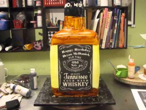 Decorated Alcohol Bottles For Birthday Beauteous Cake Decorating  3D Bottle Cake  Youtube Decorating Design