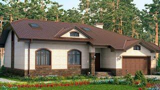 Проект дома в европейском стиле. Дом с мансардой, гаражом и панорамными окнами. Ремстройсервис М-182