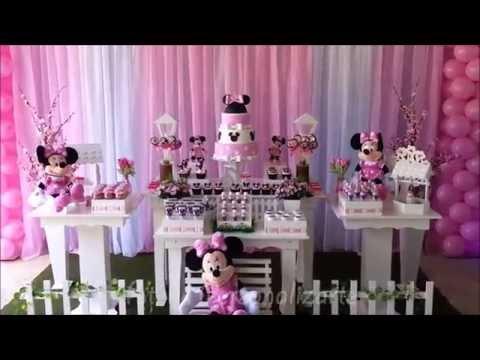 Decoração de festa infantil Minnie Rosa