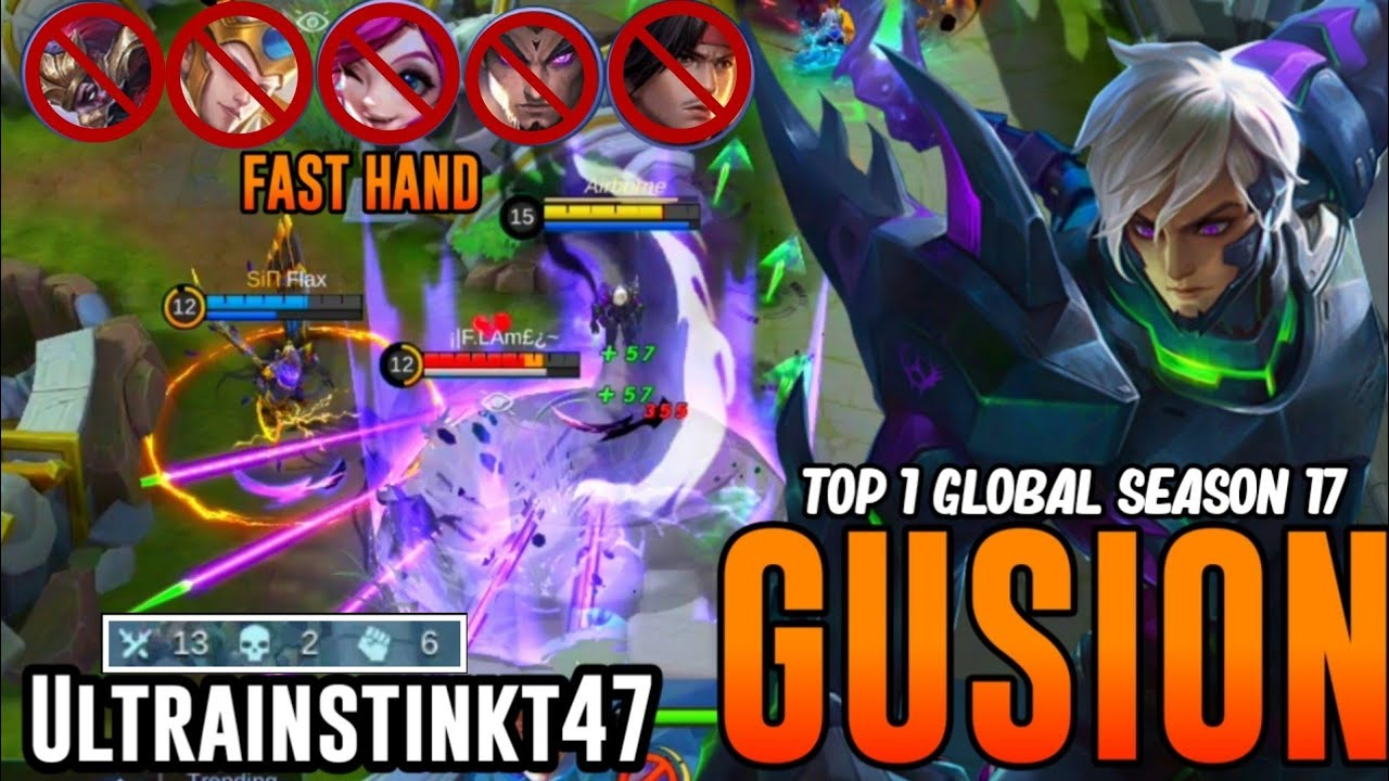 TOP 1 GLOBAL S17 GUSION Destroy New Hero Yu Zhong in Rank, Fast Hand! | Gusion Gameplay