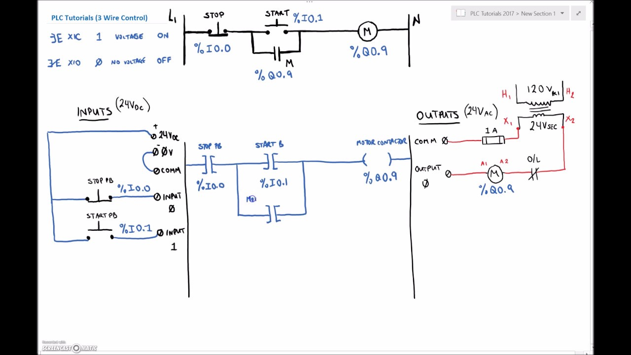 plc tutorial (twidosuite) #2 (3 wire control explanation ... schematic ladder wiring diagrams #5