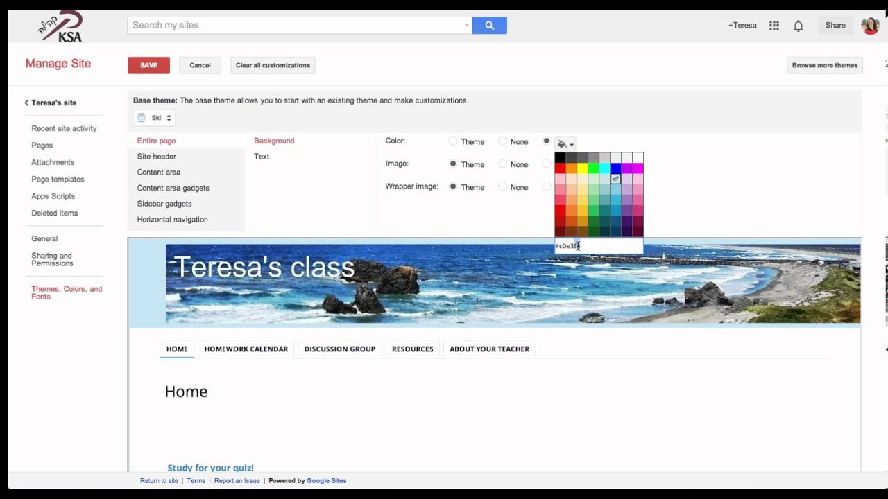 google sites lesson 6 change color font and theme youtube
