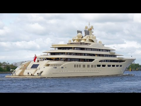 4K | Mega Yacht DILBAR - Name Visible - Farewell