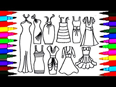 Girls Dresses Drawing and Coloring for Kids l Teach Kids to Draw Beautiful Clothes l Coloring Pages