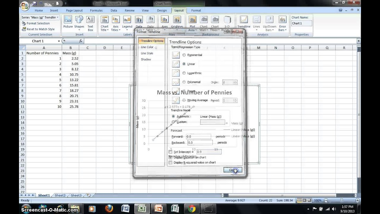 Using Microsoft Excel to Analyze Data Using Linear