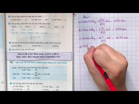 Giải bài 1 trang 45 (Viết các số đo khối lượng dưới dạng số thập phân) SGK Toán 5