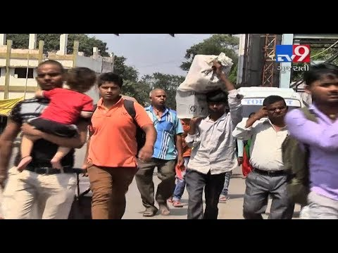 Non Gujaratis returning to their hometowns to escape from being attacked- Tv9