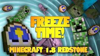 Minecraft Redstone | FREEZE TIME! Stop Mobs in MIDAIR! Minecraft 1.8 (Minecraft Redstone Creations)