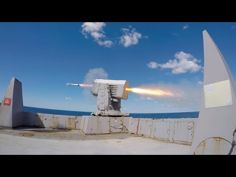 USS Arlington (LPD 24) Fires a Rolling Airframe Missile