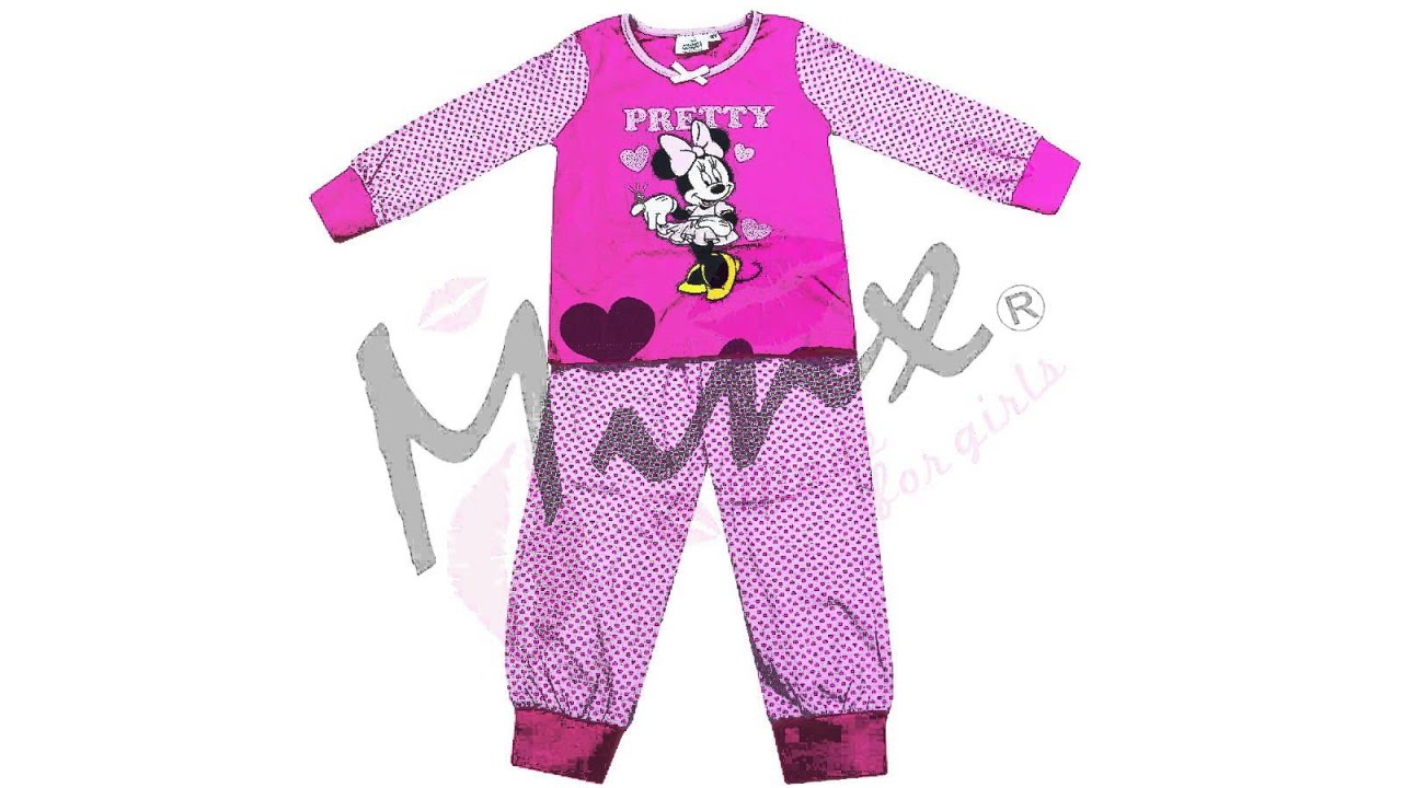 Disney Girls Minnie Mouse Pyjamas Baby Pink And Cerise 2-6 Years ...