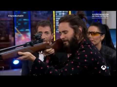 Jared Leto shoots bottle caps with Pilar Rubio // El Hormiguero November 9th 2017