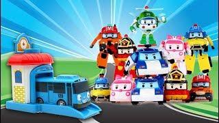 Bermaian Mainan Bus Tayo Garasi Dengan Robocar Poli