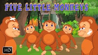 Five Little Monkeys Jumping On The Bed Nursery Rhyme With Lyrics - Kids Songs - Toddler Rhymes