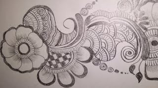 ARABIC MEHNDI DESIGN ON PAPER||| MEHNDI DESIGN WITH PENCIL