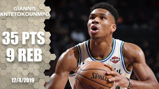 Giannis Antetokounmpo dominates Pistons with 35 points, 9 rebounds | 2019-20 NBA Highlights