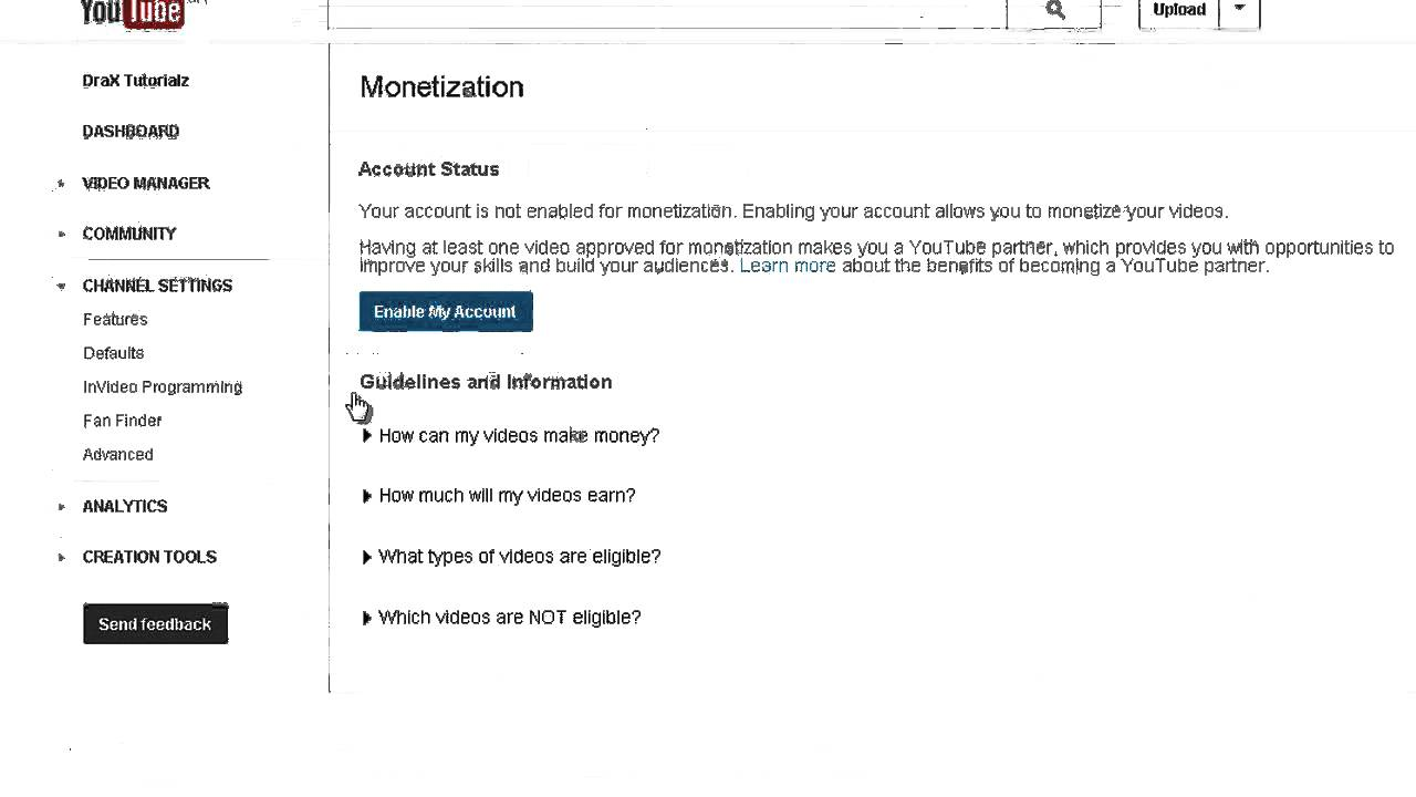 How To Enable Monetization In Your Youtube Channel To Earn Money 2014 (100%  Working)