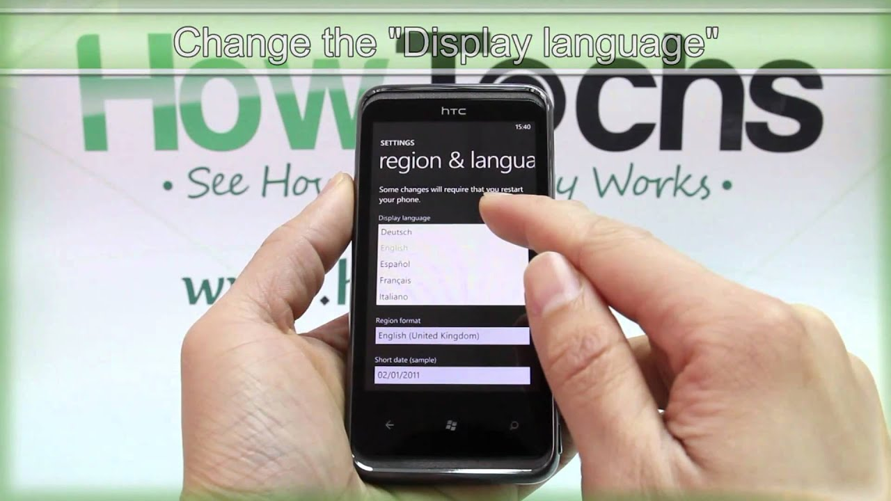 how to change the region and language on htc 7 pro youtube rh youtube com HTC Touch Diamond HTC Touch Cruise