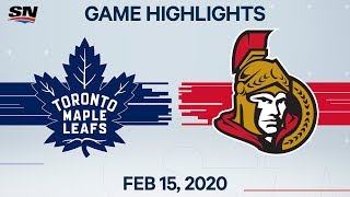 NHL Highlights | Maple Leafs vs Senators - Feb. 15, 2020